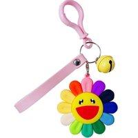 Anahtarlıklar 5 Renkler PVC Çan Kayışı Anahtarlık Sırt Çantası Çanta Kız Tutucu Charm Arabalar KPOP Renkli Güneş Çiçek
