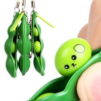 Fun Beans Squishy Keychain Kids Novel Fidget keychains Dimple Toys Key Holder Rings Bag Pendants Decompression Bean Rubber Toy