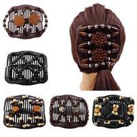 Clips de cheveux Barrettes Vendre des femmes Easy Magic Beilles en bois Double peigne Clip Double épingle à cheveux en épingle à cheveux dames Accessoires pour vêtements de cheveux