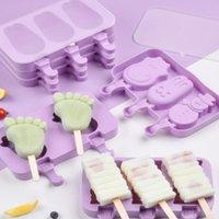 Sevimli Karikatür Dondurma Kalıp Mutfak Aletleri Silikon Popsicle Yeniden Kullanılabilir BPA-Ücretsiz Kapakları ve Sticks ile