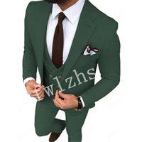 Handsome One Button Groomsmen Notch Lapel Groom Tuxedos Mens Wedding Dress Man Jacket Blazer Prom Dinner suits (Jacket+Pants+Tie+Vest) W719
