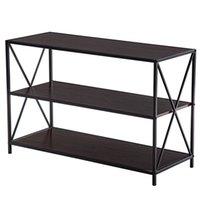 Waco Industrial Porch Hallway Consolle console TV Stand, Soggiorno Bookshelf per salotto, 3 strati X-Design Tabelle d'ingresso occasionali - Noce nera