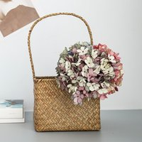 Decorative Flowers & Wreaths Silk Hydrangea Autumn Vase Home Decoration Christmas Wedding Bridal Bouquet Wall Set Artificial