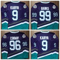 Paul Kariya 9 Mighty Ducks Hockey Jerseys 96 Charlie Conway 99 Adam Banks Jersey de Anaheim Films Couvert pour hommes