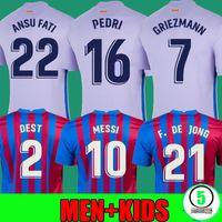 21 22 Barcelona Jersey Jersey Memphis Camisetas de futebol Camisa Messi Barca Kun Aguero Ansu Fati 2021 2022 Griezmann F.De Jong Dest Homens + Kids Kit Sets Meias Manga Comprida