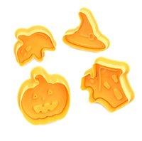 4 pz / set fai da te 3d Biscotto dei cartoni animati Stampo Halloween Bambini per bambini Strega Silicone Candy Candy Biscotti al cioccolato Stampi Home Cucina Forniture G89xo8T