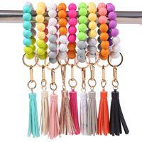9 StylesTassel Bead String Chain Party Favor Food Grade Silicone Beads Bracelet Women Girl Key Ring Wrist Strap Bracelets Keychains Q123
