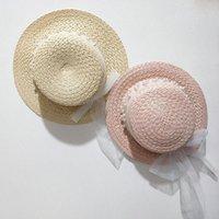 Малыш дети детские летние тканые соломы солнцезащитная шляпа с кружевной лентой Жемчужная дискета широкий Breim солнцезащитный крем плоский лучший пляжный колпачок Горро шляпы