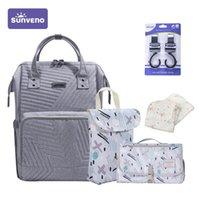 Sunen 5 em 1 pacote combinado pacote de fralda saco puro cor múmia bebê cuidado de bebê npy grande capacidade de viagem impermeável sacos de viagem