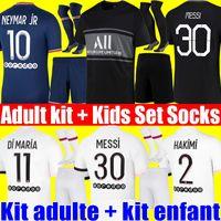 MESSI 30 MBAPPE HAKIMI SERGIO RAMOS WIJNALDUM psg soccer jersey 21 22 NEYMAR JR football shirt 2021 2022 MARQUINHOS men adult kit + kids sets socks