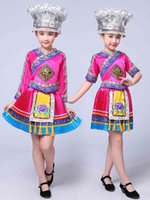 Bambini folk Hmong Cinese Traditions National Traditions Dance Suit Girls Miao Costume Stage Prestazioni