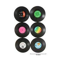 ビニールレコードテーブルマットドリンクコースタープレースマットクリエイティブコーヒーマグカップコースター耐熱禁煙パッドギフト6個
