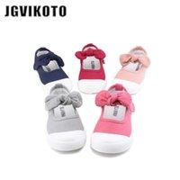 JGVIKOTO Bebé Sapatos de Lona Casual Crianças Com Bowtie Bow-Nó Doce Candy Color Girls Sneakers Crianças 21-30 210729