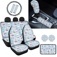 Car Seat Covers INSTANTARTS Cute Little Alpaca Printed Comfortable Seatbelt Shoulder Pad Soft Accessories Sets Steering Wheel Cover