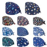 طباعة فرك القطن ممرضة قبعة الأزهار بوفانت كاب الصحية مع العصابة الكرتون الطباعة التمريض قبعات ملونة مريحة