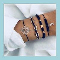 Beaded, Strands Bracelets Jewelry4Pcs Set Bohemian Beach Shell Moon Set Fashion Pop Womens Gift Vintage Bracelet Party Drop Delivery 2021 Mk