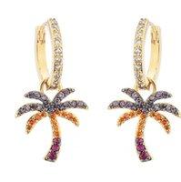 2021 Fashion Color Zircon Backs Palm Tree Tropical Style Pendientes de verano Mujer