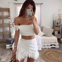 Два куска платье распоряжение 2021 летние белые кружевные повязка повязку bodycon slash шеи короткая верхняя мини-юбка набор женщин наряда mi629
