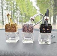 NEWCube Hollow Car Perfume Bottle Rearview Ornament Hanging Air Freshener For Essential Oils Fragrance Empty Glass Bottle Pendant RRA7488