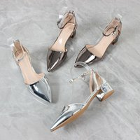 Dress Shoes 2021 Pointed Toe Strap Sandals Women's Summer Patent Leather Rhinestone Thick Heel Mid-heel Women Punps