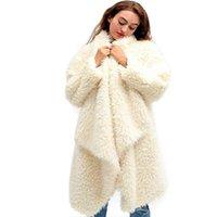 Women's Wool & Blends Autumn Winter Clothes Plush Cardigan Women Double Fleece Loose Top Coat High Street Jacket Solid Open Stitch Long Ladi