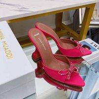 Rojo Satin Amina Italia Muaddi Mules Slippers 95mm Crystal Embellished Toel Heel Shoes Shoeswge