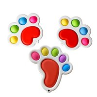 Square pata pé forma bolha poppers arco-íris board fidget sensory brinquedos push push dedo quebra-cabeça covily toy stress relevo engraçado desktop jogo