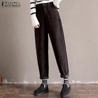 Women's Pants & Capris Plus Size ZANZEA Women Turnip Trousers Vintage Solid Zipper Work Corduroy Long Harem Pantalon Female Palazzo Streetwe