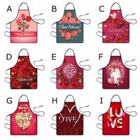 Aprons Valentine's Day Decoration Waterproof Apron Kitchen For Women Cotton Linen Bibs Household Cleaning Pinafore Home D9