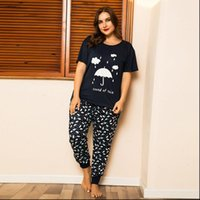 Large Size Pajamas Set Umbrella Womens Sleepwears Print T shirt Trousers Homewear Plus Two Pieces Nightwear Loose Sleepwear