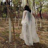 [EAM] Damen Hemd Frühling Herbst V Collar Langarm Weiß Übergroße Große Größe Organza Sonnencreme Bluse Mode JT55