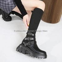 Boots Women Sock Black Booties Thick-soled Platform Shoes Stretch Buckle Knight Big Size 34-43 Female Autumn Winter