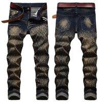jeans 2021 Men Original Retro Nostalgic Trendy Slim-Fit Stretch Potlood Broek Mesh-shaped Full-Wig Old colored