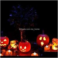 Calabaza vela sin flamada con batería de batería de té LED Velas de luz para Halloween interior al aire libre par jlloev nbqat xevba