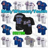 Mens Women Youth Mets 12 Francisco Lindor York 20 Pete Alonso Jersey 48 Jacob Degrad 5 David Wright Darryl 딸기 59 Carlos Carrasco