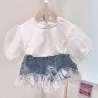 Kinderkleidung Sets Mädchen Outfits Kinder Puff Sleeve Tops + Spitze Denim Shorts / Blumenröcke 2pcs / set Sommer Mode Boutique Baby Kleidung Z2712