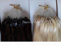 """LUMMY Remy Micro Ring Loop 100% INDIAN Human Hair Extensions 16""""-26"""" 1G S 100G pack Color #2 Darkest Brown and #613 Bleach Blond"""