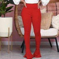 Sexy Ruffle Flared Long Trousers Women Palazzo Comfortable Slim High Waist Stretch Solid Female Street Wear Fashion Pants 210513