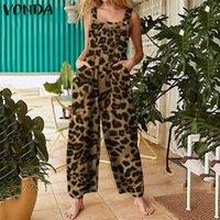 Yaz tulum kadın'jumpsuits kare yaka vintage leopar baskı romper artı boyutu vonda 2021 bayan ayak bileği uzunluğu geniş bacak pantolon a0q1 #