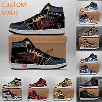 J1 diy تخصيص مخصص الرجال كرة السلة أحذية مخصص الإبداعية تصميم الأزياء رجالي المرأة الرياضية أحذية رياضية مع مربع المدربين 36-47