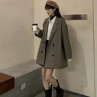 2020 Kış kadın Ekose Suit Ofis Bayanlar Uzun Ceket Retro Kruvaze Ceket Basit Zarif Kadın Yün Blazer