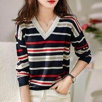 Женские свитера Shintimes Striped Pullovers свитер эластичный V-образным вырезом для мазки женщин 2021 весна осень с длинным рукавом корейская женщина одежда тянуть FEM