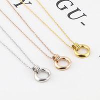 قلادة القلائد نمط ثلاثي الأبعاد قوس غير النظامية دائرة الدائرة قلادة الفولاذ المقاوم للصدأ امرأة مجوهرات الحب هدية بالجملة N-21