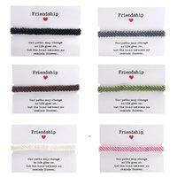 Mode Freundschaft Charme Armbänder für Frauen Handmade gewebtes geflochtenes Armband mit Papierkarten Einstellbar Böhmischen Stil Wachs Seil DWA8544