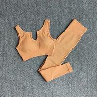 Yoga Outfit Склад 2 штуки Бесшовные Набор Женщин Тренажерный зал Одежда Высокая Талия Леггинсы Спорт Бюстгальтер Фитнес Спортивная одежда Обращается