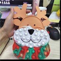 Fidget Toys Christmas Elk Messenger Bag Silicone Push Bubble Sensory Reliever Stress for Keychain Adult Children Autism Antistress Toy Boutique