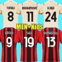 AC ميلان لكرة القدم الفانيلة Giroud 2021 2022 Brahim Kessie R.Leao The Rebic 21 22 Brahimovic Football Shirt M. Maignan Tonali Men + Kids Maglia da Calcio