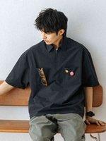 Niche 714Street فضفاض الأدوات قصيرة الأكمام قميص الرجال تصميم قميص عارضة