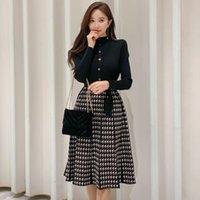 Zawfl 2021 Herbst Koreanische elegante gestrickte Plaid Patchwork Frauen Kleid Langarm Oansatz Lace-up Bogen Falten Midi Kleider Vestido