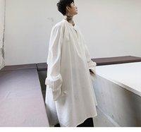 Hommes Casual Shirts Men Streetwear Japon Japon Kimono Bat Bat à manches longues Lâche Chemise Blanche Blanche Male Femmes Vintage Style Robe